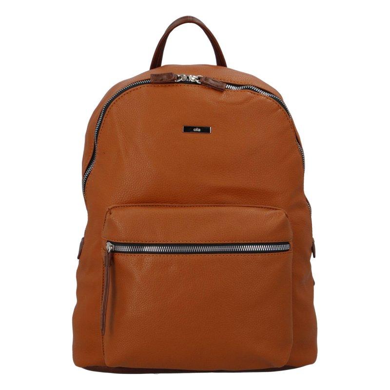 Stylový a prostorný koženkový batoh pro dámy i pány Florence, koňaková
