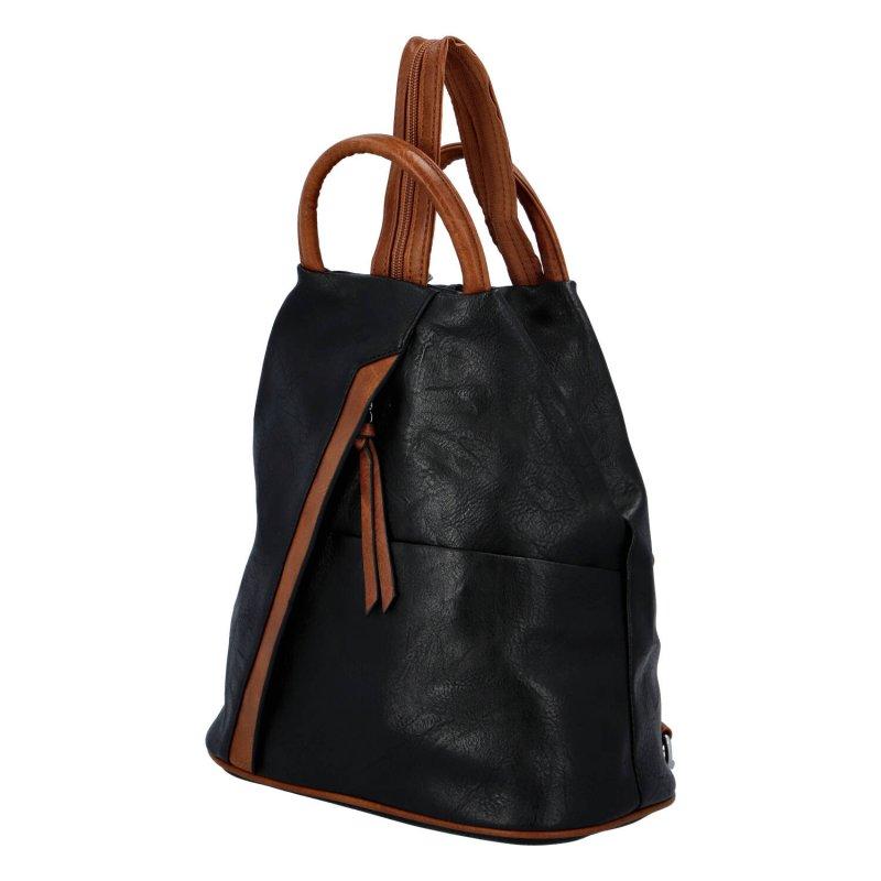 Módní dámský koženkový batoh Caroline, černá/hnědá