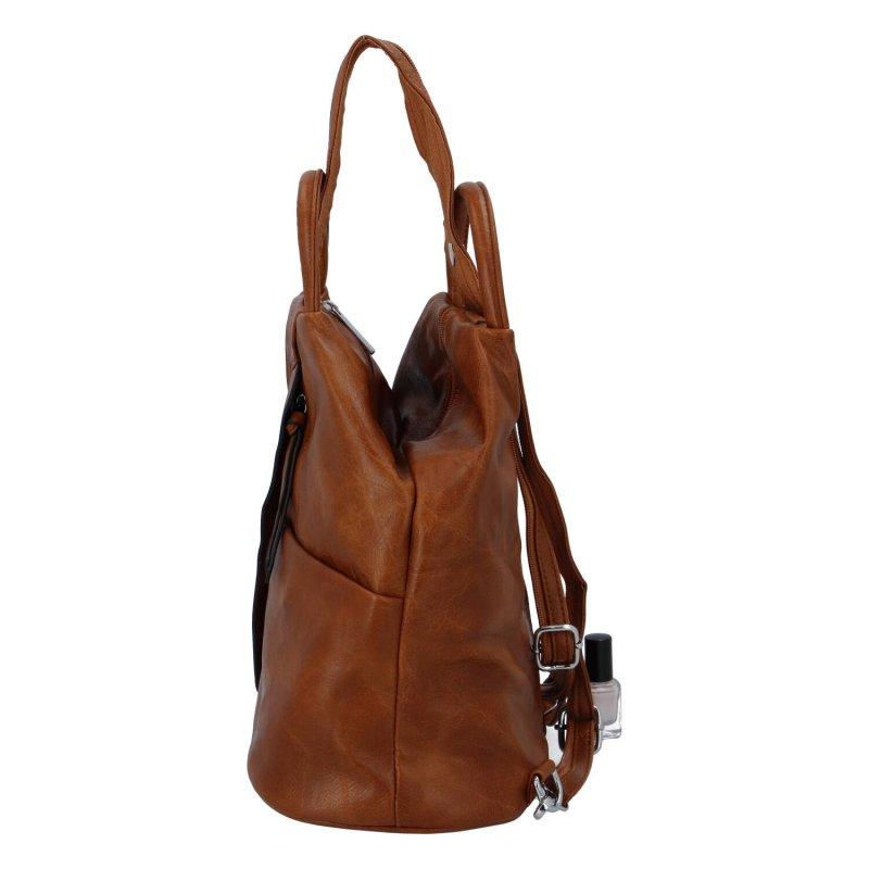 Módní dámský koženkový batoh Caroline, hnědá