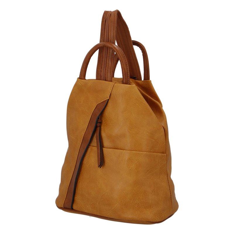 Módní dámský koženkový batoh Caroline, žlutá/hnědá