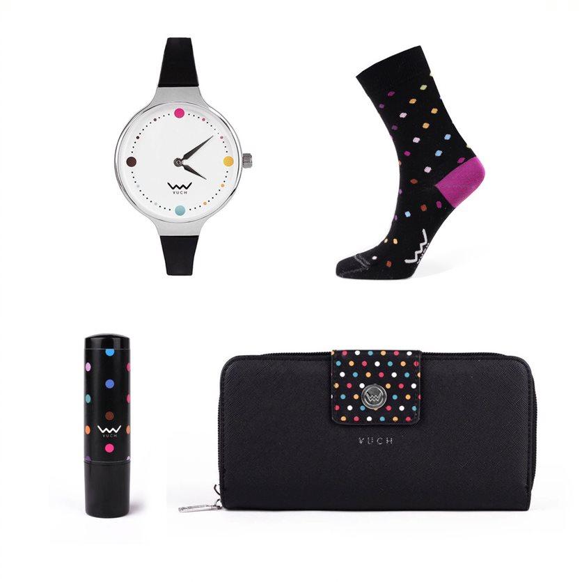 Dárkový set VUCH Cheerful Dots, ponožky 39-42, hodinky, peněženka a labelo