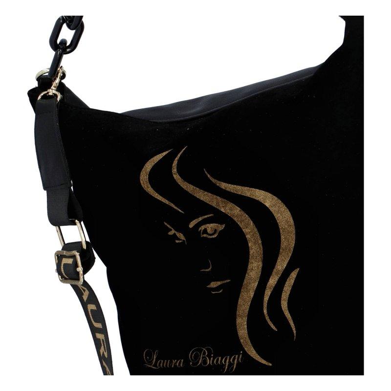 Luxusní dámská semišová kabelka Anifé Laura Biaggi, černá