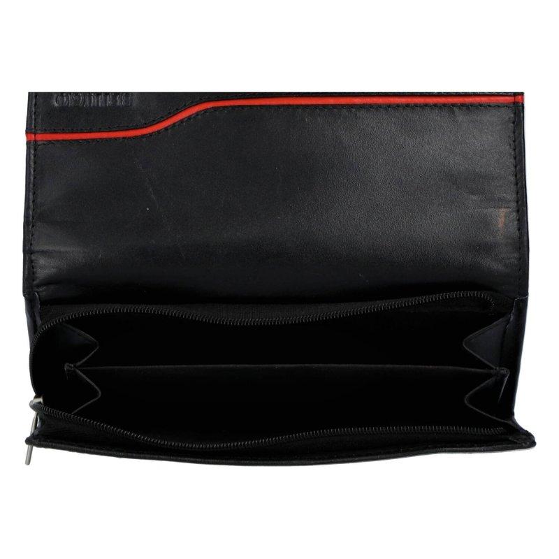 Nepřehlédnutelná dámská kožená peněženka Agnesa, černá/červená