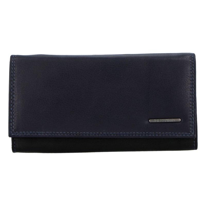 Krásná dámská kožená peněženka Bellugio, modrá