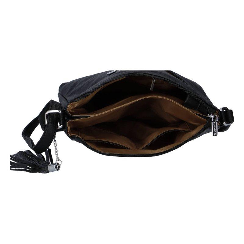 Zajímavá dámská koženková crossbody Kornel, černá