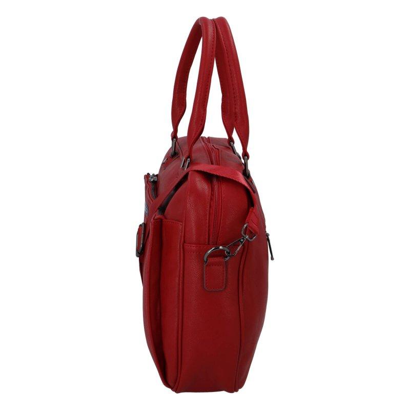 Praktická dámská koženková pracovní notebook taška Xenie, červená