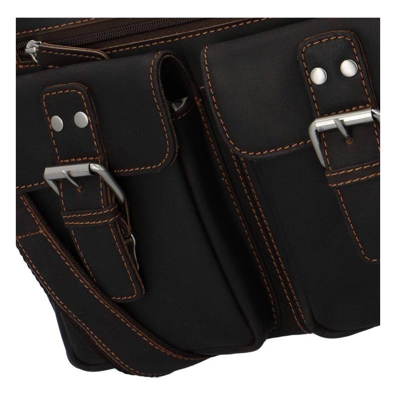 Luxusní pánská kožená taška Emilio, černá/tmavě hnědá