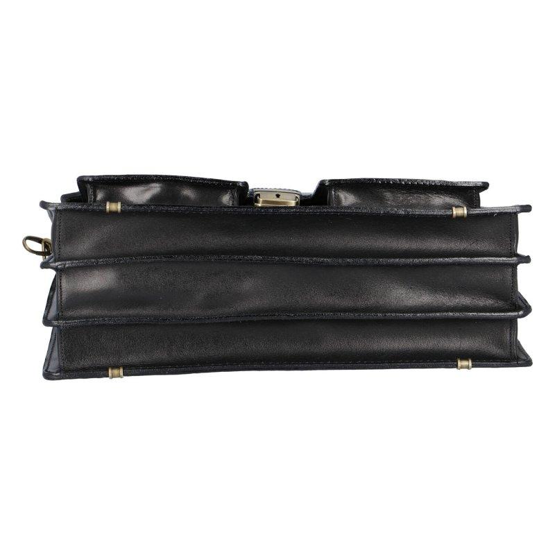 Luxusní pánská kožená aktovka Sam, černá