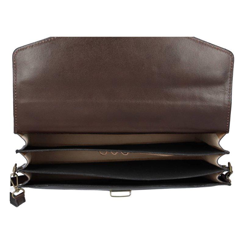 Luxusní pánská kožená aktovka Sandrino, hnědá