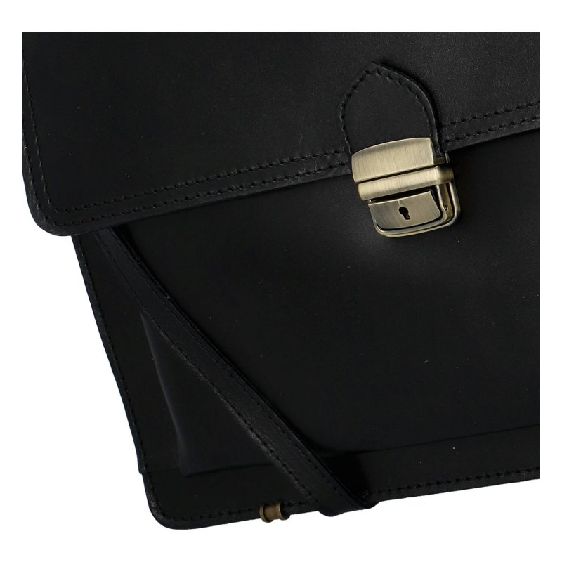 Luxusní kožená pánská aktovka Delami Venezia, černá