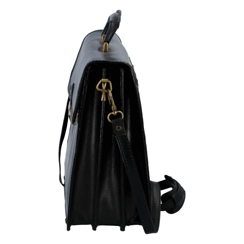 Eleganntí pánská kožená aktovka Ernesto, černá