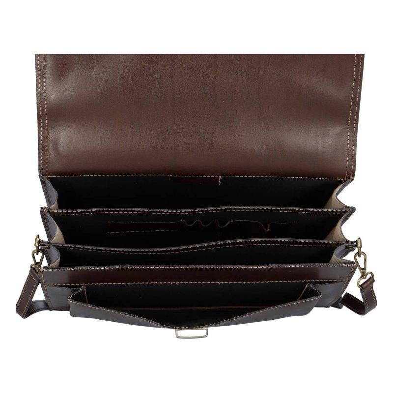 Luxusní kožená pánská aktovka Delami Venezia, hnědá