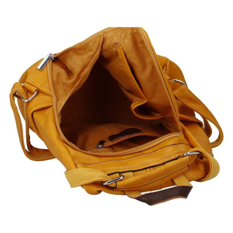 Zajímavý menší dámský koženkový batůžek Melánie, žlutá