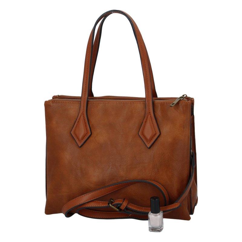 Velká a prostorná dámská koženková taška Patricie, hnědá