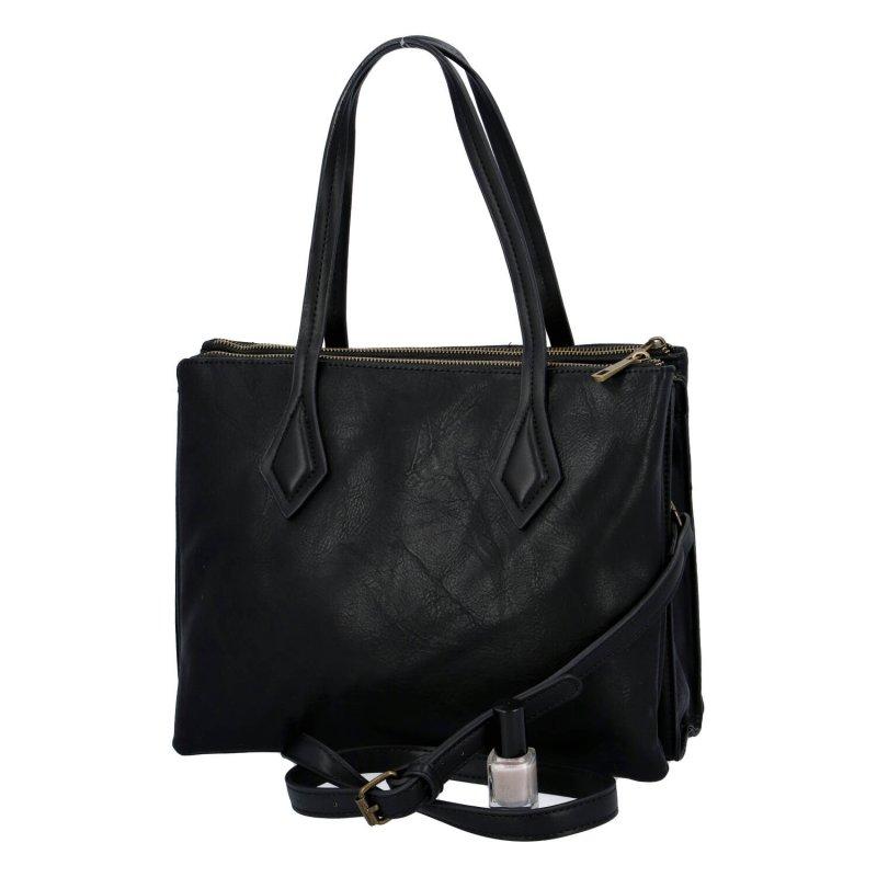Velká a prostorná dámská koženková taška Patricie, černá