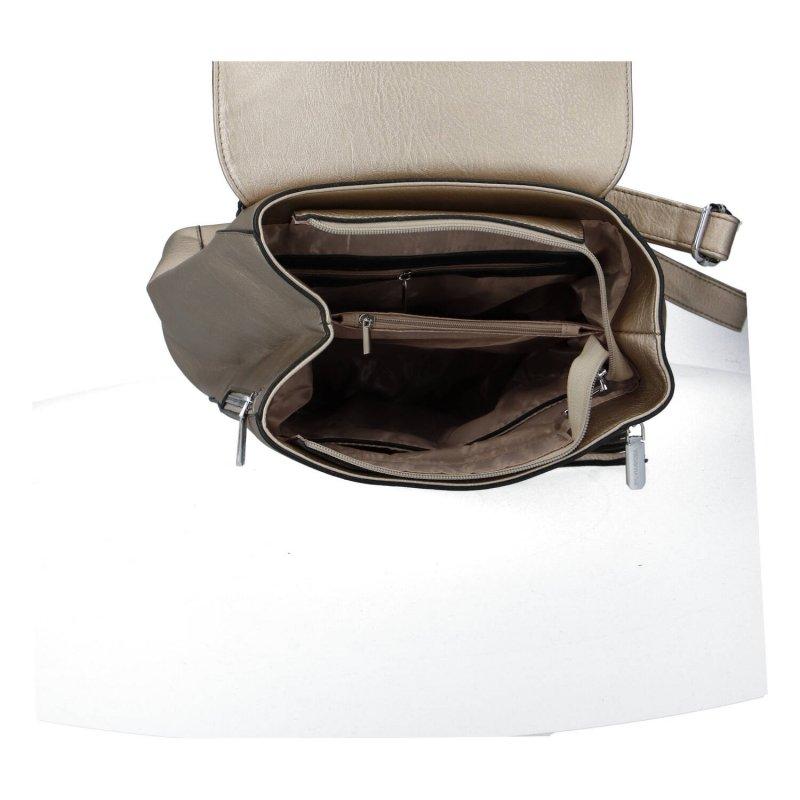 Pěkný dámský koženkový batůžek s kožešinovou bambulí Nora, stříbrná