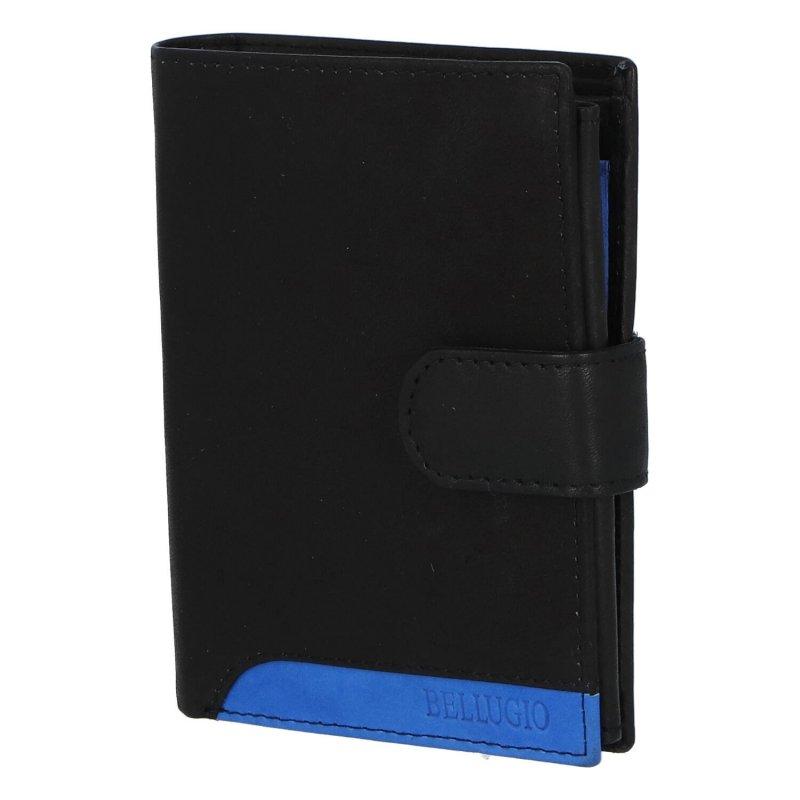 Praktická pánská kožená peněženka s barevným logem Margita, černá/modrá