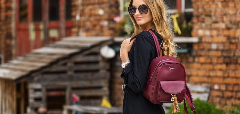 Dámský koženkový batoh VUCH Paxton, vínový