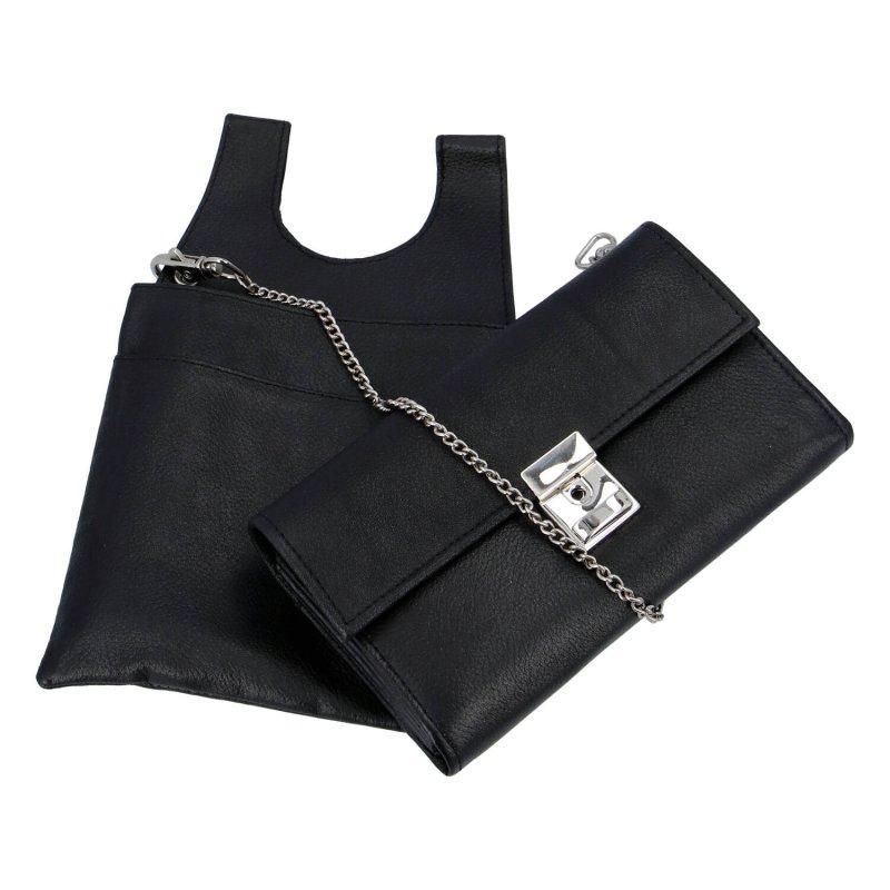 Koženková peněženka Iminek, číšnický flek v tašce na opasek, černá