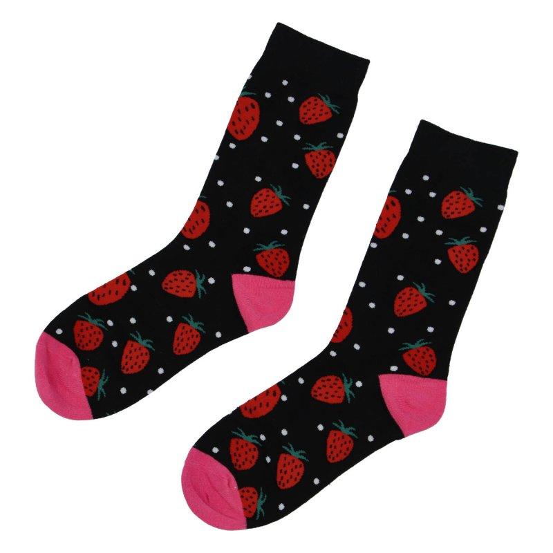 Veselé ponožky jahody, černé 39-43