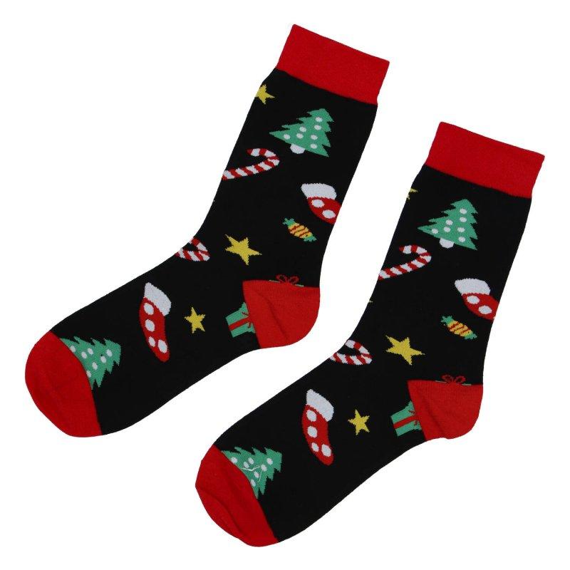 Ponožky Vánoční stromeček, černé 35-39