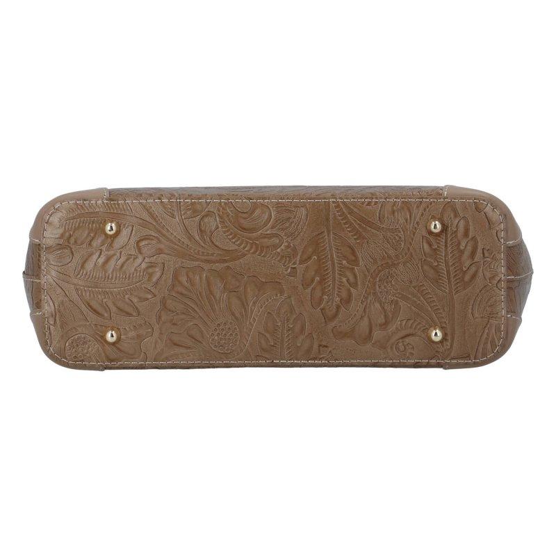 Luxusní dámská kožená kabelka Mira, zemitá