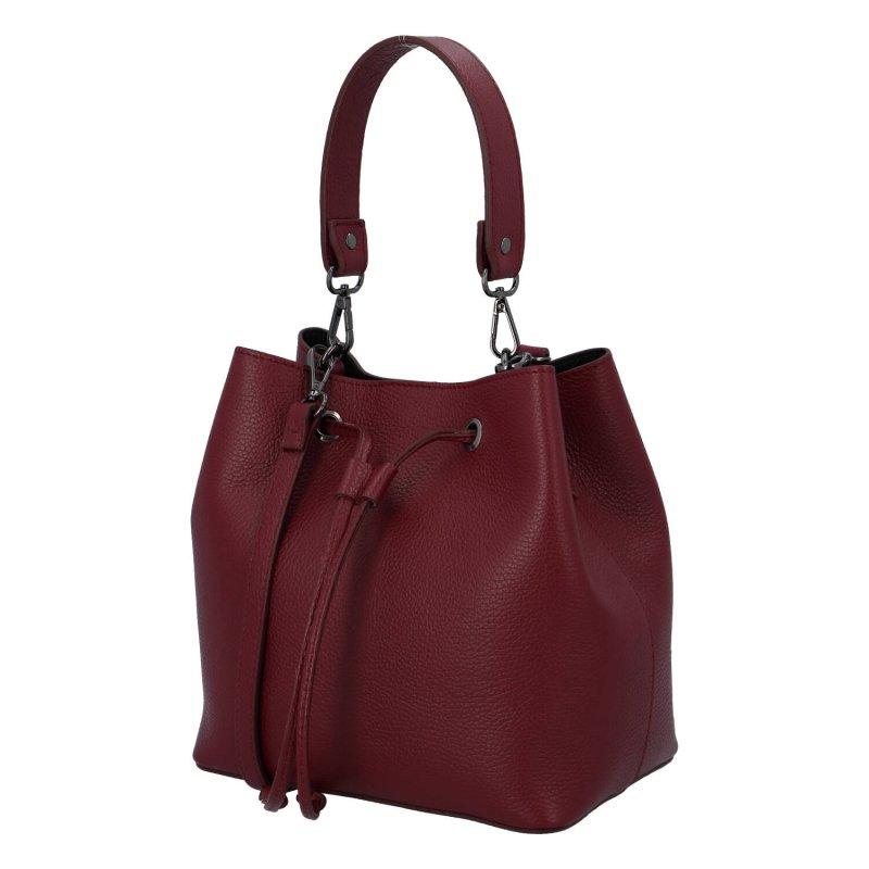 Pohodlná a stylová dámská kožená taška Simone, vínová