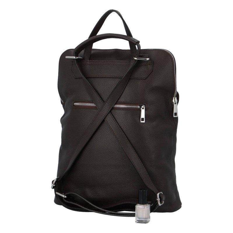Praktický a módní dámský kožený městský batoh Ester, tmavě hnědá