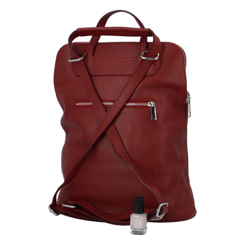 Praktický a módní dámský kožený městský batoh Ester, červená