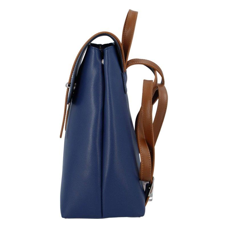 Elegantní dámský kožený batůžek Donald, modrá/hnědá