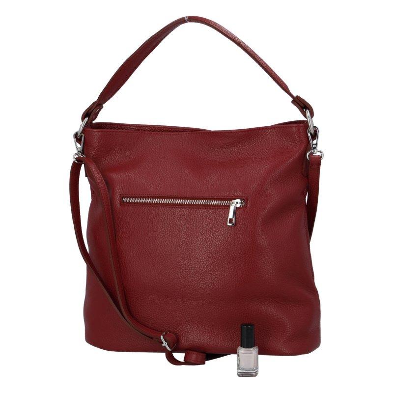 Pěkná a praktická dámská kožená kabelka Natálie, tmavě červená