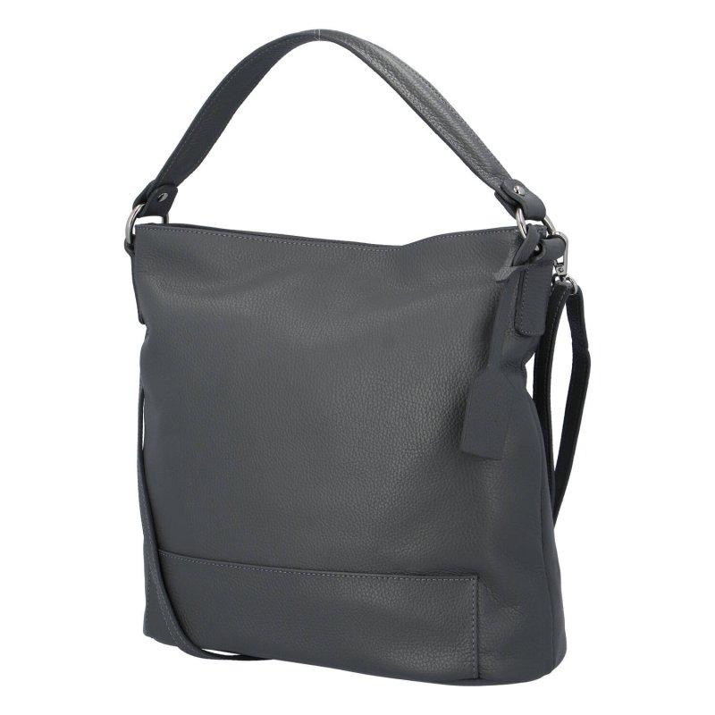 Pěkná a praktická dámská kožená kabelka Natálie, šedá