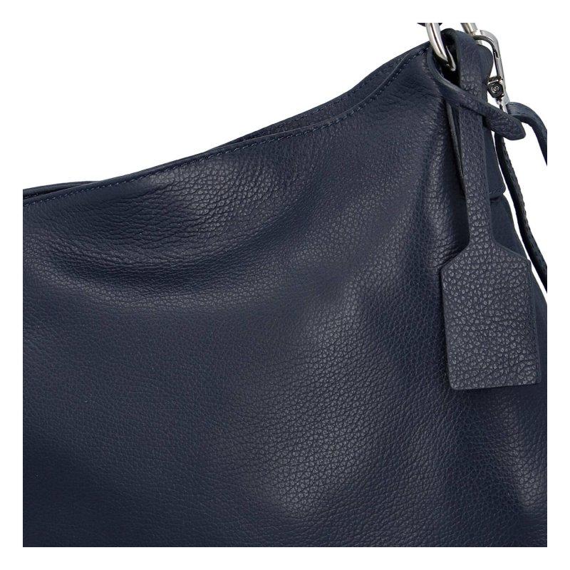 Pěkná a praktická dámská kožená kabelka Natálie, tmavě modrá