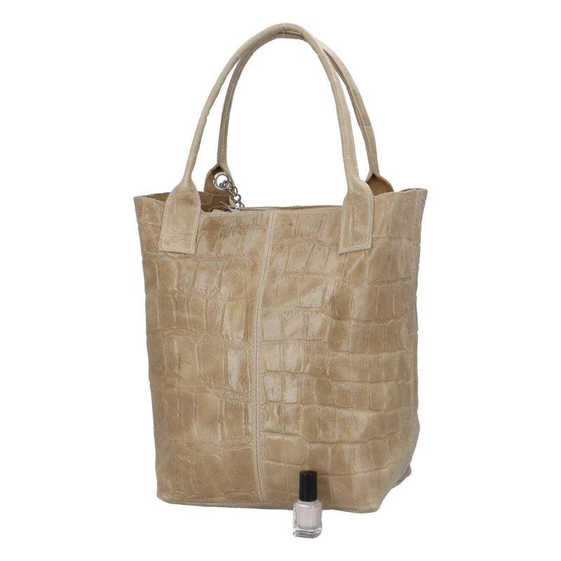 Kožená shopper taška v luxusním provedení Melánie, béžová