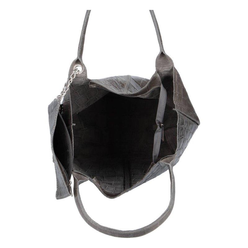 Kožená shopper taška v luxusním provedení Melánie, tmavě šedá