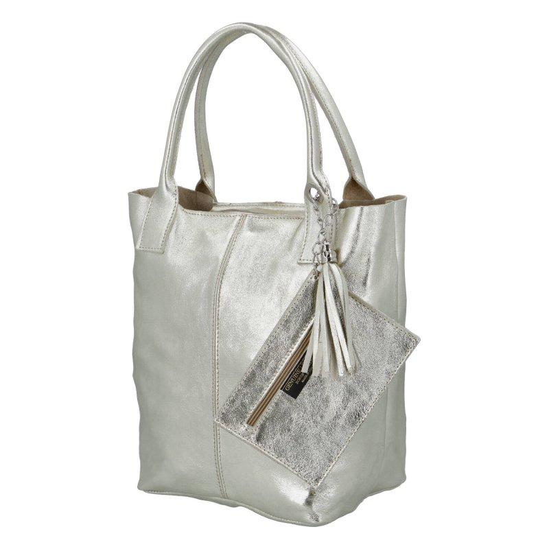 Kožená shopper taška v luxusním provedení Melánie, zlatá