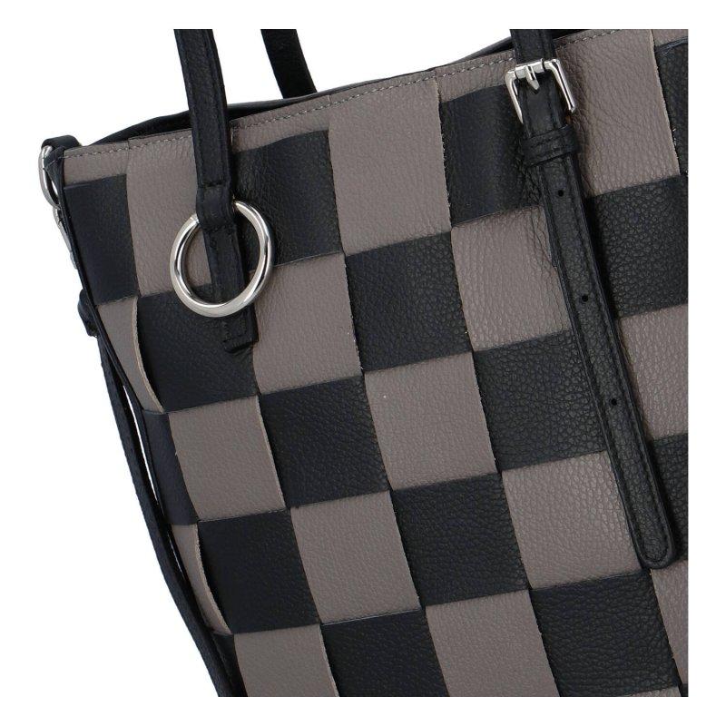Dámská kožená kabelka Chess game, černo šedá
