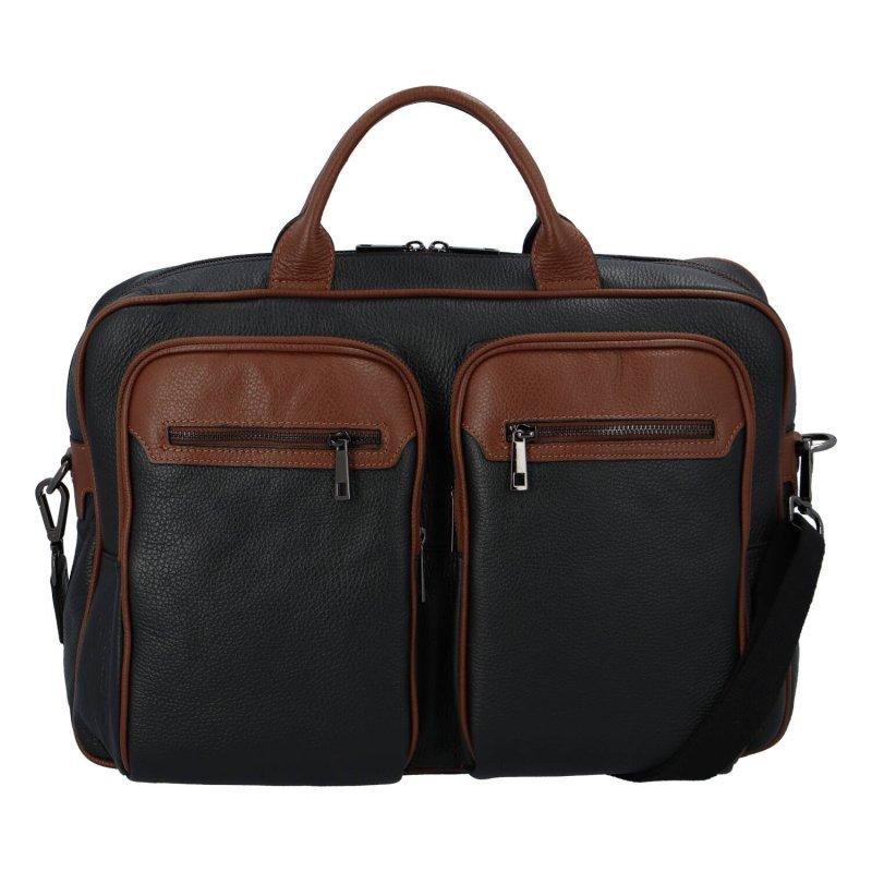 Kožená cestovní business taška Clerk, černo hnědá