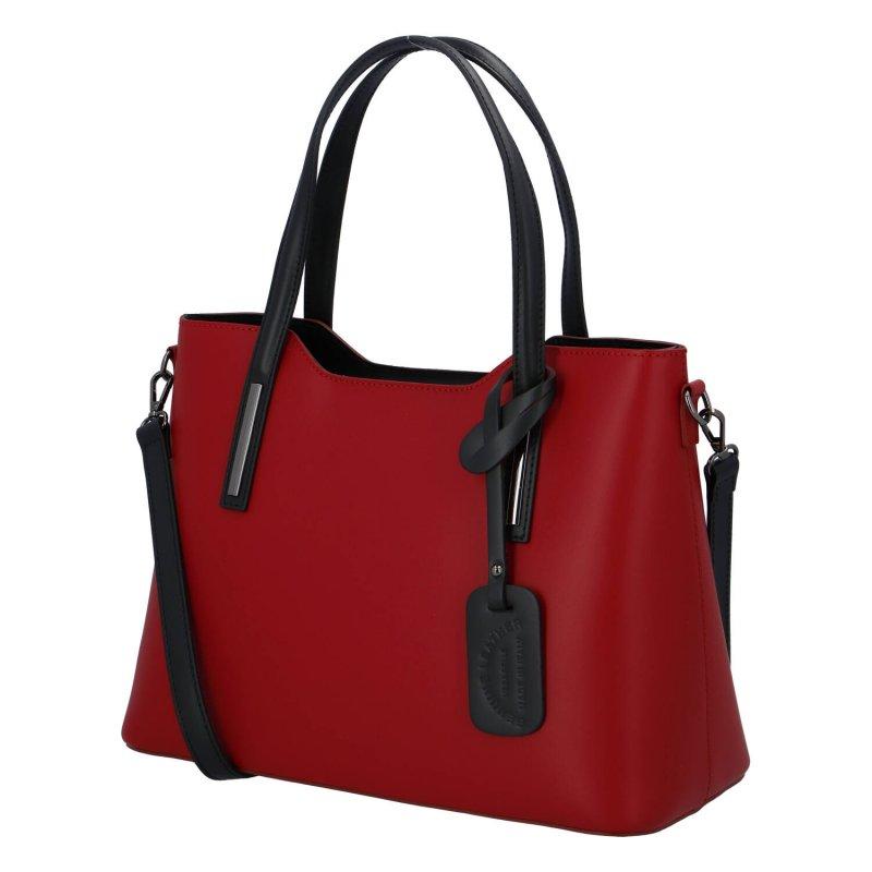 Elegantní kožená dámská kabelka do ruky Hilary, červeno černá