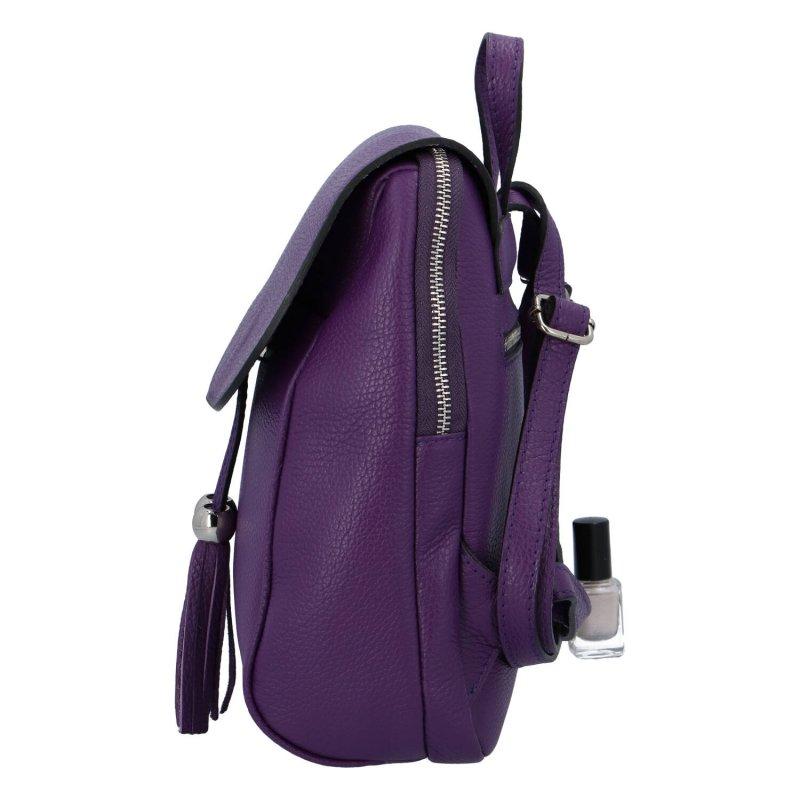 Originální kožený kabelko-baťůžek HELENE, tmavě fialový