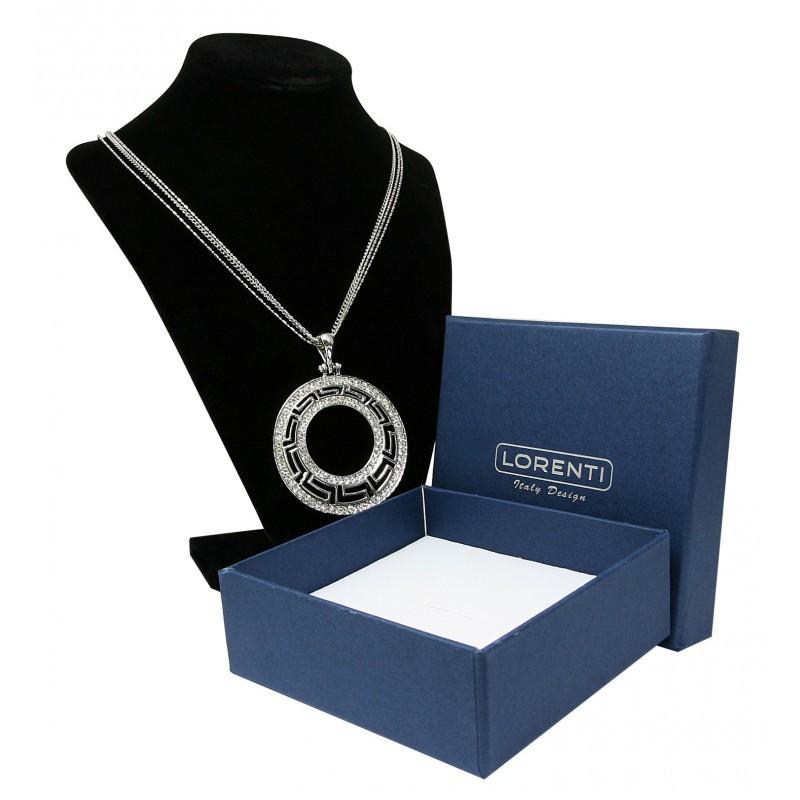 Dámský dlouhý náhrdelník Mayský ornament s kamínky, stříbrný