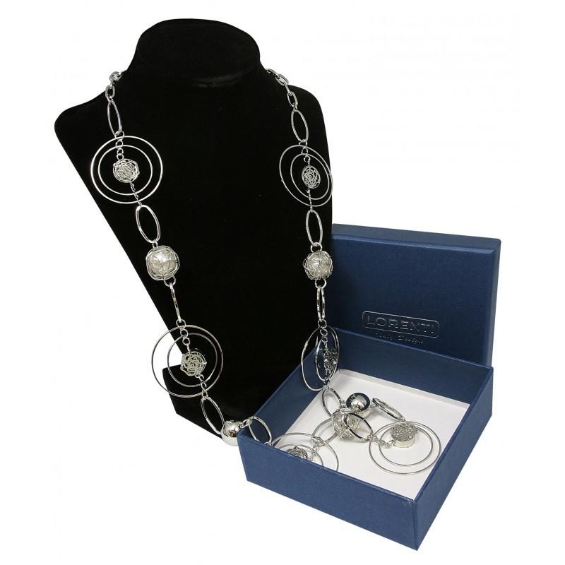 Dámský náhrdelník Geometric pearl, stříbrný