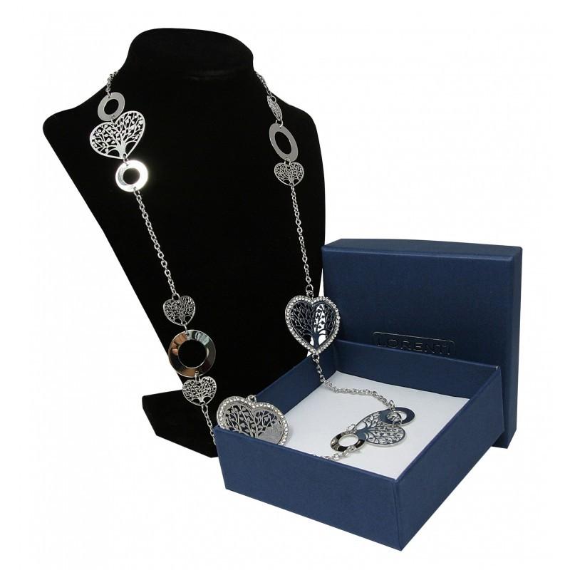 Dámský dlouhý náhrdelník s přívěskem Strom života ve srdíčku, stříbrný