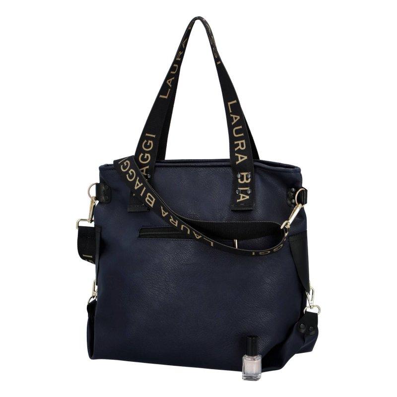Velká módní dámská koženková taška Nora Laura Biaggi, modrá
