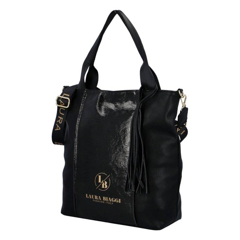 Trendy dámská kombinovaná koženková kabelka Amália Laura Biaggi, černá