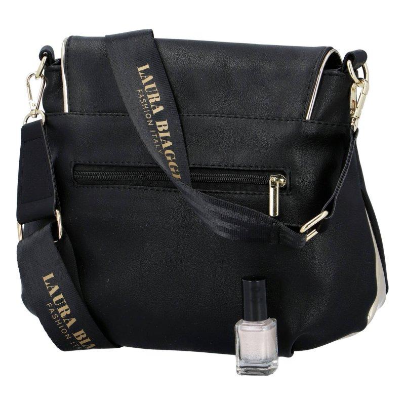 Objemná dámská koženková taška s klopou Henrieta Laura Biaggi, černá