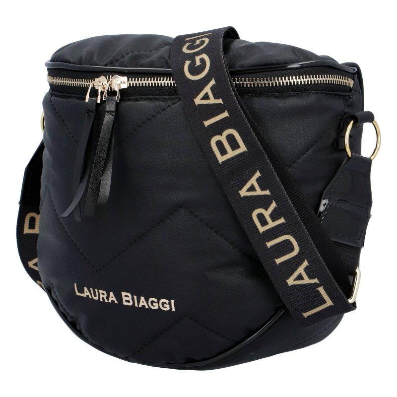 Prošívaná dámská módní koženková taška Isabele Laura Biaggi, černá