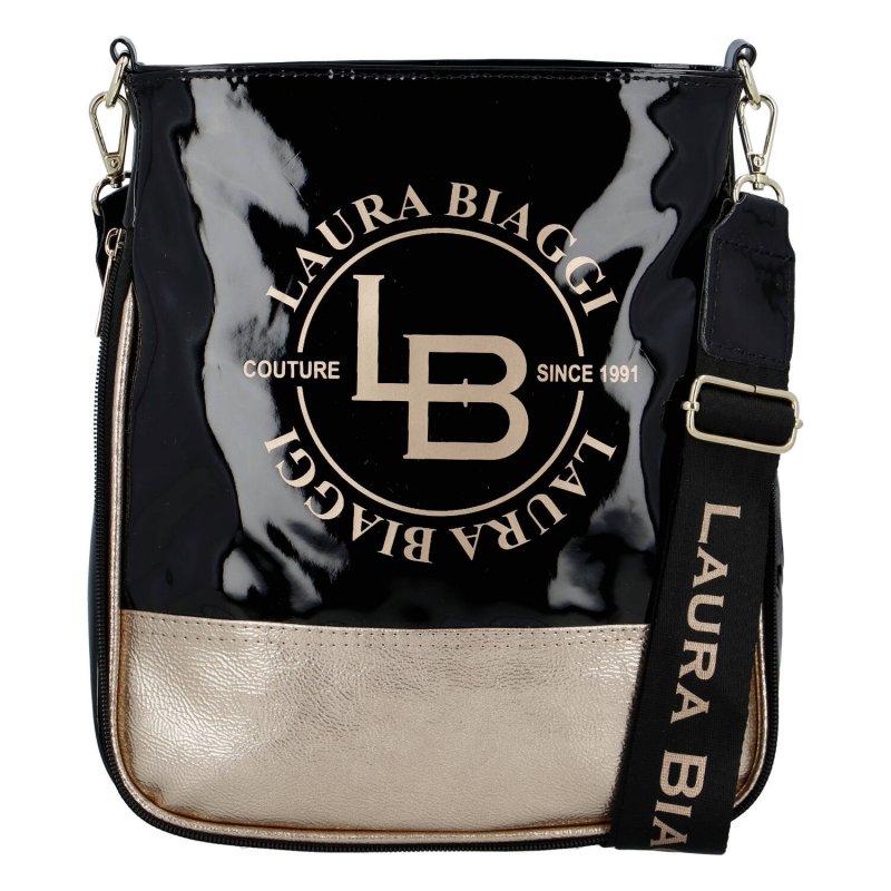 Výrazná lesklá dámská crossbody Lucy Laura Biaggi, černá