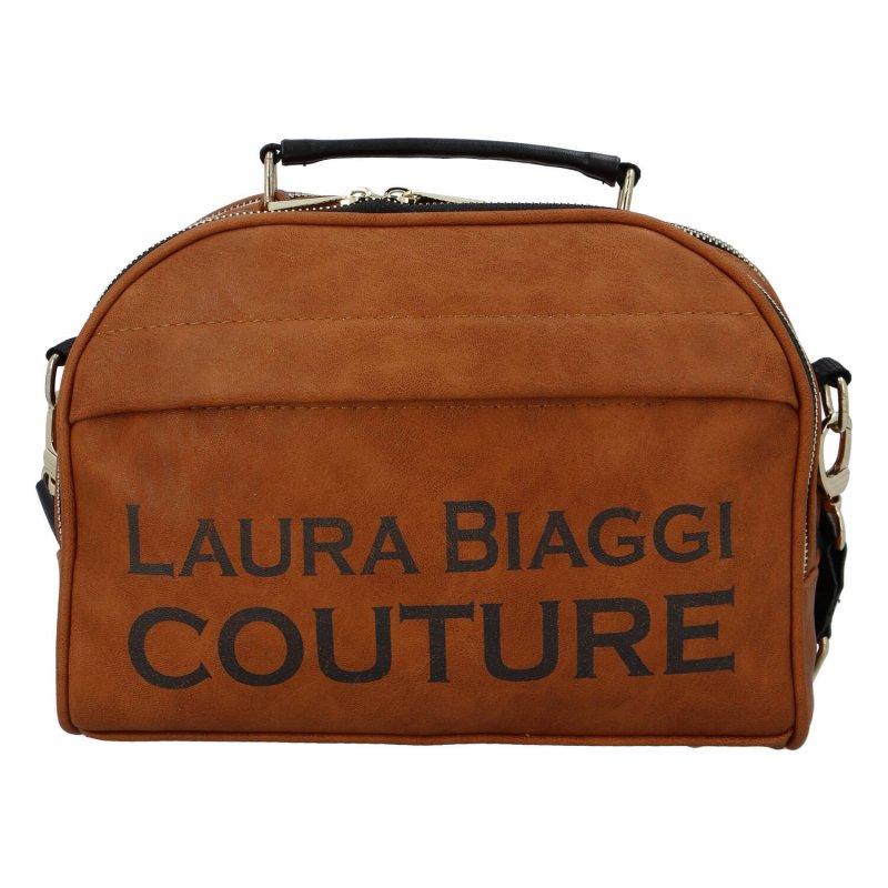Trendová koženková kabelka Laura travel, hnědá