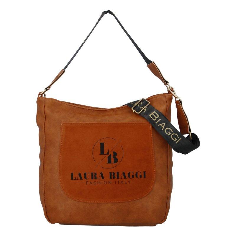 Praktická dámská koženková kabelka Laura Arizona, hnědá